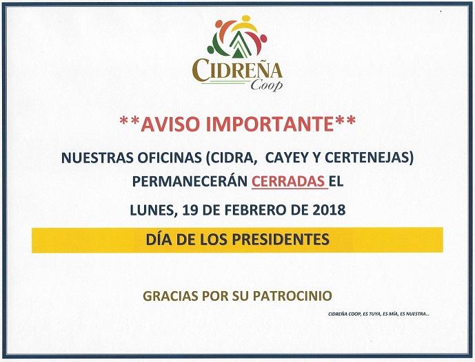OFICINAS CERRADAS FERIADO